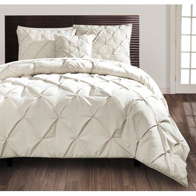 Asphodèle 4 Piece Comforter Set Color: Taupe, Size: Queen