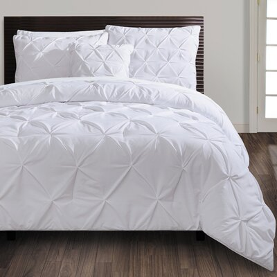 Asphodèle 4 Piece Comforter Set Color: White, Size: Queen