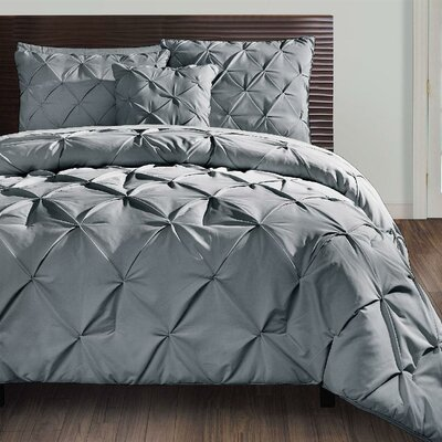 Asphodèle 4 Piece Comforter Set Color: Gray, Size: Queen