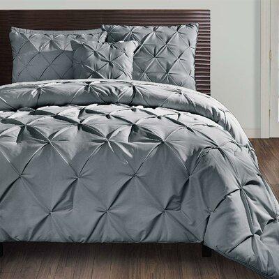 Asphod�le 4 Piece Comforter Set Color: Gray, Size: Queen
