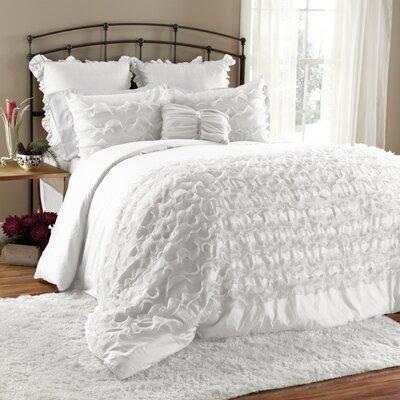 Arraignee 7 Piece Comforter Set Size: Queen, Color: White