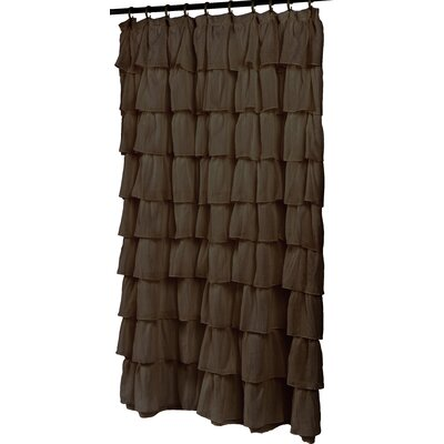 Atia Ruffled Tier Shower Curtain Color: Brown
