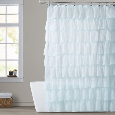 Atia Ruffled Tier Shower Curtain Color: Light Blue