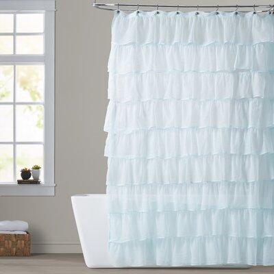 Atia Ruffled Tier Shower Curtain Color: Light Blue