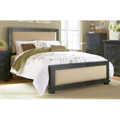 Castagnier Upholstered Panel headboard Size: King, Color: Distressed Black