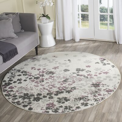 Ales Ivory/Gray/Purple Area Rug Rug Size: Round 6