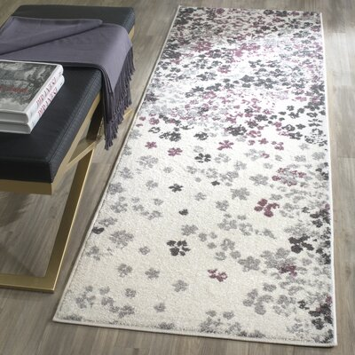 Ales Ivory/Gray/Purple Area Rug Rug Size: Runner 26 x 8