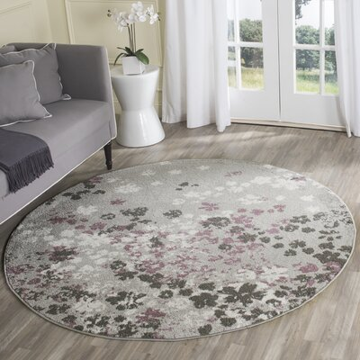 Ales Light Grey/Purple Area Rug Rug Size: Round 6