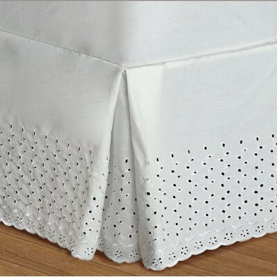 Athenis Eyelet Deck Bed Skirt Color: White, Size: Queen