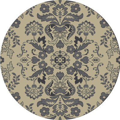 Baume Ivory/Blue Area Rug Rug Size: Round 77