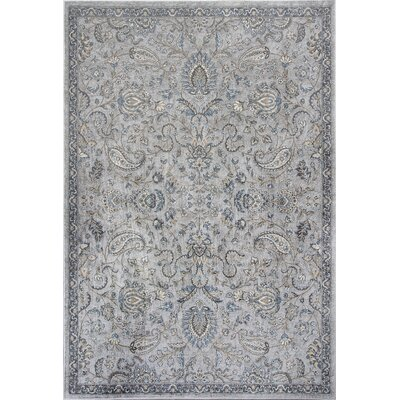 Benoit Silver/Blue Area Rug Rug Size: 53 x 77
