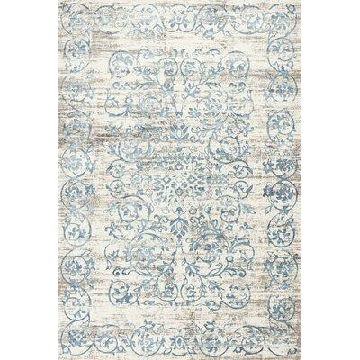 Camellia Ivory/Blue Area Rug Rug Size: 33 x 47