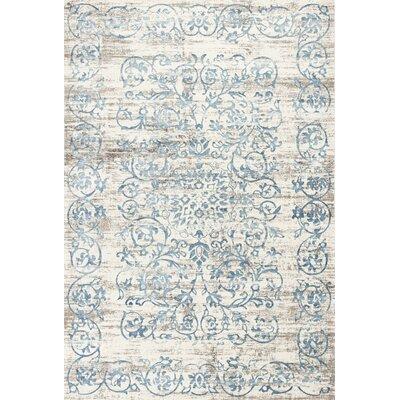 Camellia Ivory/Blue Area Rug Rug Size: 53 x 77