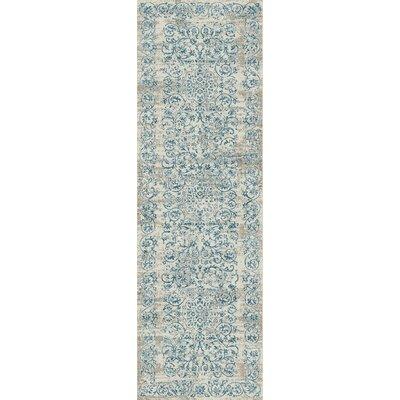 Camellia Ivory/Blue Area Rug Rug Size: Runner 22 x 611