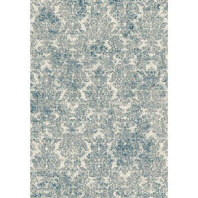 Benoit Ivory/Blue Area Rug Rug Size: 22 x 37
