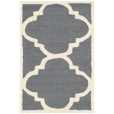 Blakemore Hand-Tufted Dark Grey/Ivory Area Rug Rug Size: Rectangle 2 x 3