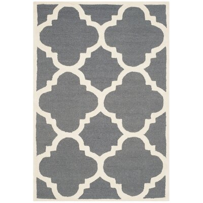 Blakemore Hand-Tufted Dark Grey/Ivory Area Rug Rug Size: 4 x 6