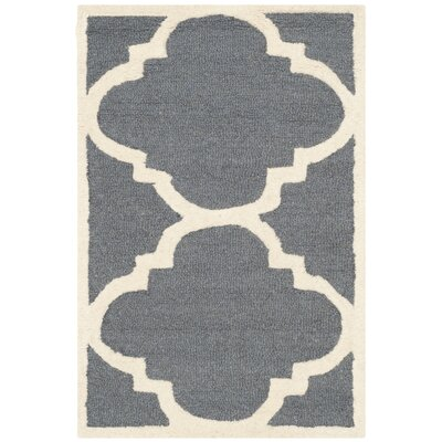 Bron Hand-Tufted Dark Grey/Ivory Area Rug Rug Size: 2 x 3