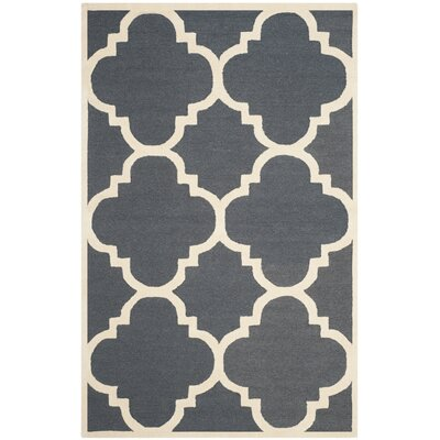 Bron Hand-Tufted Dark Grey/Ivory Area Rug Rug Size: 5 x 8