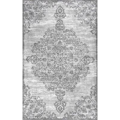 Melyne Floral Medallion Gray Area Rug Rug Size: 86 x 116