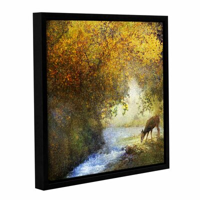 Deer By a Woodland Brook Framed Painting Print on Wrapped Canvas