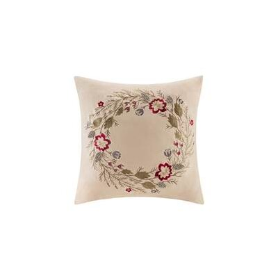 Amandier Embroidered Suede Throw Pillow