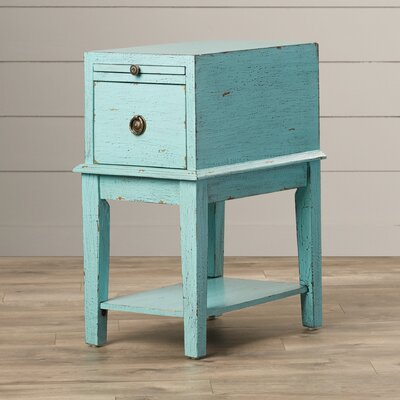 Philippine 1 Drawer End Table Finish: Blue