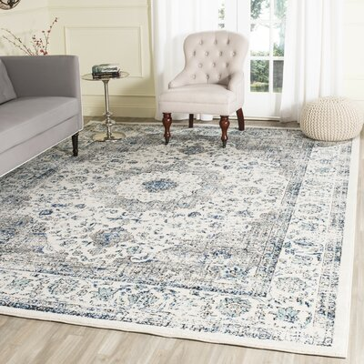 Aleyna Gray/Ivory Area Rug Rug Size: Rectangle 22 x 19
