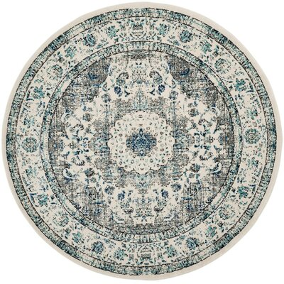Aleyna Gray/Ivory Area Rug Rug Size: Round 3