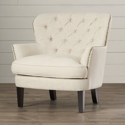 Celestin Armchair Upholstery: Off-White, Nailhead Detail: Brass
