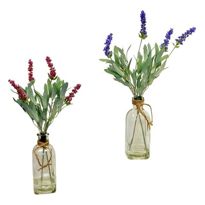 2 Piece Lavender Blooms in Vintage Inspired Vase Set