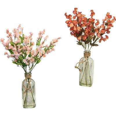 2 Piece Baby's Breath in Vintage Inspired Vase Set
