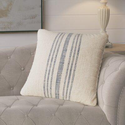 Stripe Linen Throw Pillow Color: Annapolis Blue, Size: 24