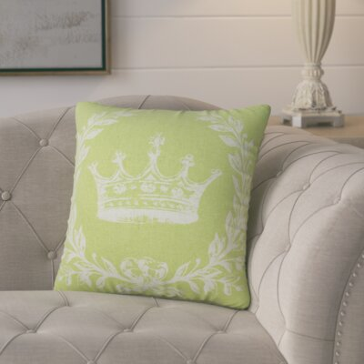Clematite Coral Crown Linen Throw Pillow Color: Chartreuse Green