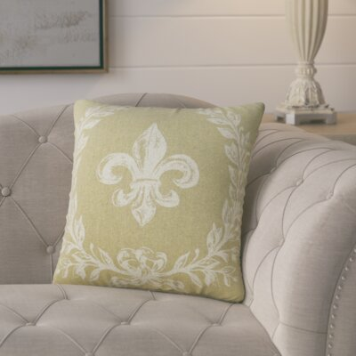 Clematite Fleur de Lis Linen Throw Pillow Color: Beige