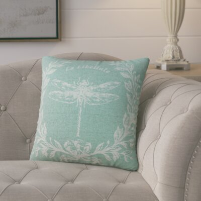 Clematite Dragonfly Linen Throw Pillow Color: Aqua