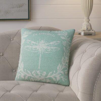 Clematite Dragonfly Linen Throw Pillow Color: Aqua