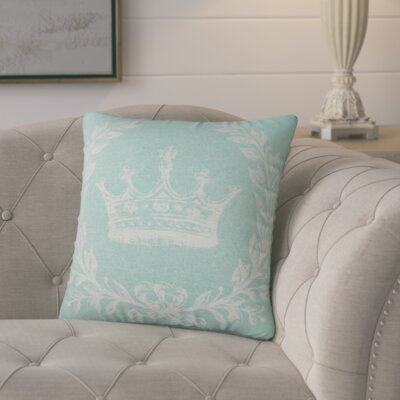 Clematite Coral Crown Linen Throw Pillow Color: Aqua