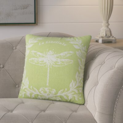 Clematite Dragonfly Linen Throw Pillow Color: Chartreuse Green
