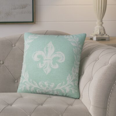Clematite Fleur de Lis Linen Throw Pillow Color: Aqua