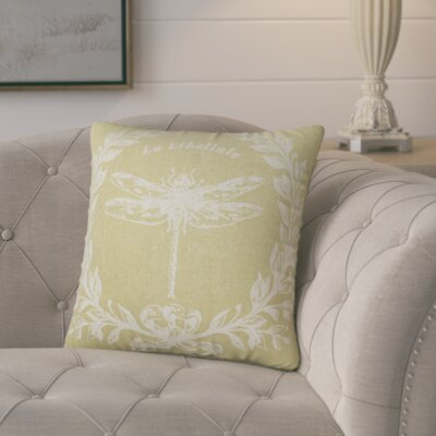 Clematite Dragonfly Linen Throw Pillow Color: Tan