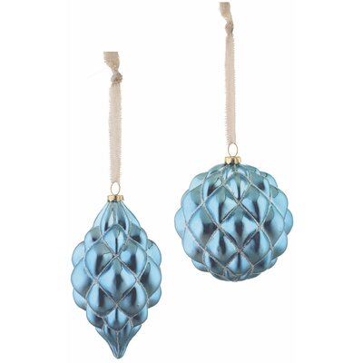 2 Piece Tufted Glass Ornament Set (Set of 3)