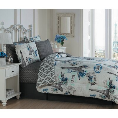 Croghan 8 Piece Bed in a Bag Set Size: Queen, Color: Blue