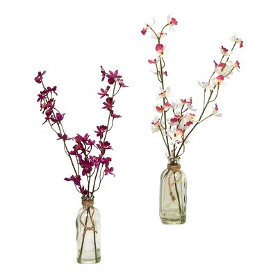 2 Piece Dancing Orchid Blooms in Vintage Inspired Vase Set