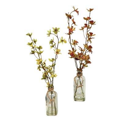 2 Piece Dancing Orchid Blooms in Vintage Inspired Vase Set