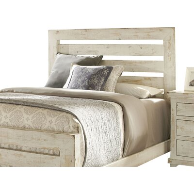 Castagnier Slat Headboard Size: King, Color: Distressed White