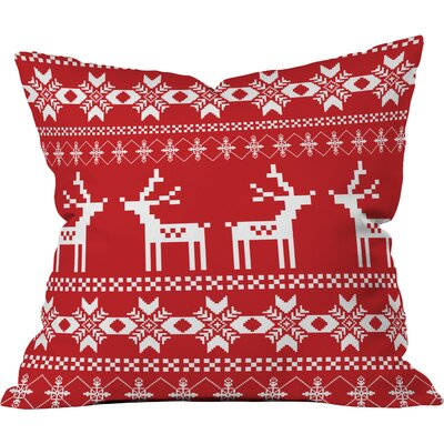 Christmas Red Deer Indoor/Outdoor Throw Pillow Size: Small
