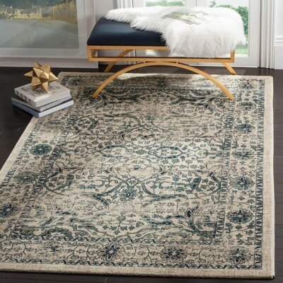 Montelimar Beige/Blue Area Rug Rug Size: Rectangle 51 x 76