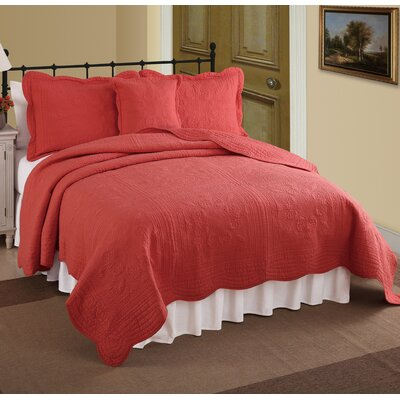 Ambroise Quilt Size: Full/Queen, Color: Coral