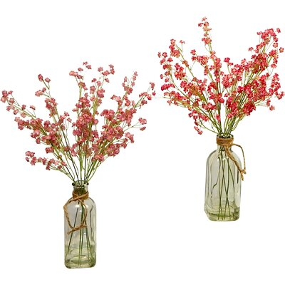 2 Piece Baby's Breath in Vintage Inspired Vase Set